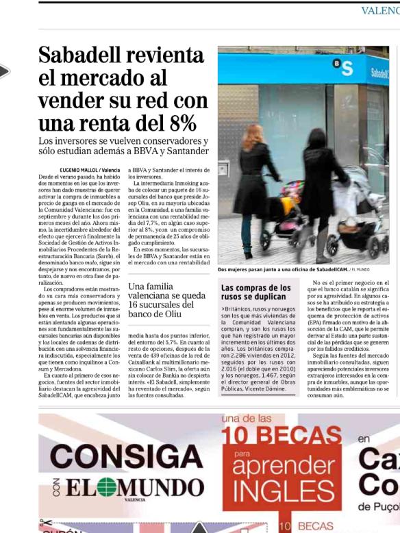 Real estate inversiones inmobiliarias en valencia for Oficinas banco sabadell valencia